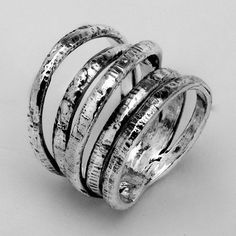 Sterling Silver Five Linked Plain Silver Handcrafted Texture Bands