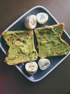Favorite breakfast 😋😋 toast with guacamole and boiled eggs