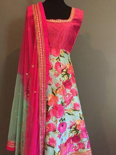 Sleeveless Pink Floral Anarkali | Spring Summer Anarkali |