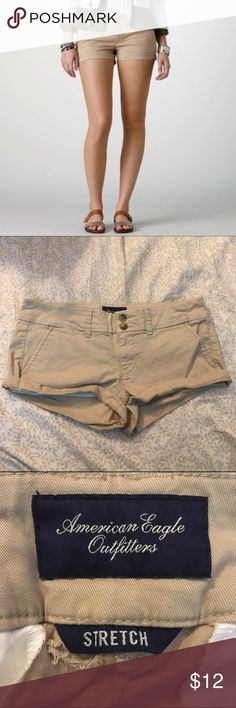 American Eagle Khaki Booty Shorts Lightly worn in ha & haven't been touched since (6 yrs ago), holding up surprisingly well American Eagle Outfitters Shorts Jean Shorts