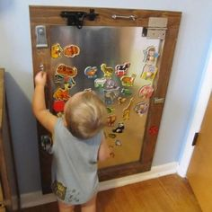 Magnetic Activity Board for Toddlers    - This cool magnetic activity board is sure to keep little hands busy.  Not only is it filled with fun magnets, but the out edges have all different kinds of fasteners they can hook and unhook.  Entertaining and great for building motor-skills.