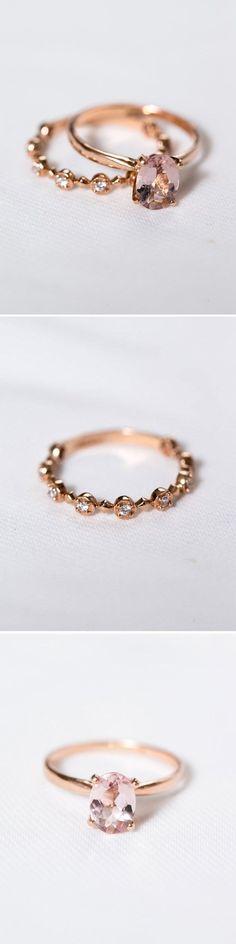 Rose Gold Morganite Engagement Ring || Pink Diamond Engagement Ring #engaged #engagementring #diamondengagementring