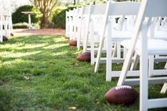 The Kentlands Mansion Side Garden has enough space for you to line your way down the isle with footballs!-----Photo Courtesy of Look Wedding Photography