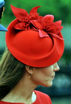 Kate Middleton's red Jubilee hat.  Subtle red on red, but very interesting still!