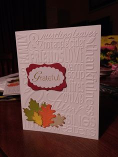 Sheryl's Crafting Corner: Grateful using Lawn Fawn stitched leaves