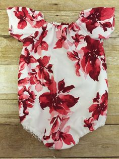 A personal favorite from my Etsy shop https://www.etsy.com/listing/589876857/red-floral-seaside-romper-baby-girl