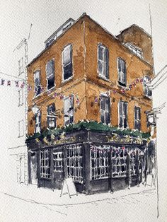 Original watercolour, unique and signed. pen and wash on 300gsm watercolour paper. Part of a series capturing the often elaborate beauty of Londons Public houses  Pubs are the living rooms of the community, a place to meet, socialise and discuss. Our history and stories are also passed down through 'pub talk' indeed they are the libraries of our collective memories of place. The architecture of Public Houses express this importance often in a celebratory way whilst reflecting the…