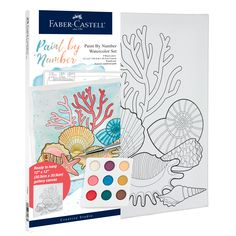 Beginners can create a shell watercolor painting with Watercolor Paint by Number Coastal! This paint by number includes a unique paint pallet, paint brush and seperate number guide that will allow you to create a masterpiece. With the quality Faber-Castell products you will create a watercolor piece of art that you will be proud to hang on your wall! Watercolor Projects, Watercolor Canvas, Watercolour Painting, Watercolors, Point Paint, Art Sets For Kids, Coral Design, Painting Activities, Pallet Painting