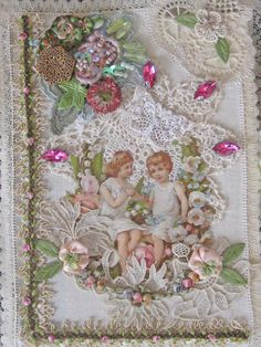 Shabby Chic Altered Vintage Book - Antique Laces