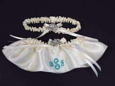 Monogrammed Bridal Garter Set with Brooch from Kristie Ann Couture; custom monogram wedding garter; handmade garter set; monogram bridal garters; couture garter