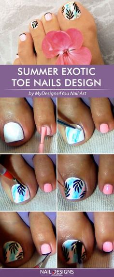 Sweet Summer Exotic Toe Nails Designs