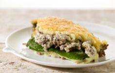Spinach, minced beef, mash and boursain (herb cream cheese)