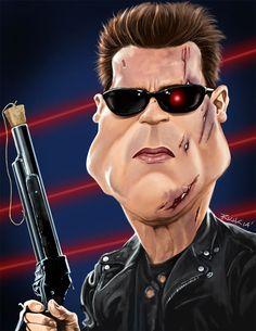 Caricatura de Terminator (Arnold Schwarzenegger). Shares