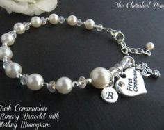 Traditional Catholic First Communion Rosary by TheCherishedBead