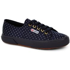 SUPERGA 2750 DOTSSATINW NAVY DOTS WHITE (£47) ❤ liked on Polyvore featuring shoes, sneakers, white low tops, summer shoes, white low top shoes, navy shoes and polka dot shoes