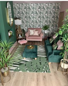 Green and pink living room Living Room Green, Green Rooms, Home Living, Rugs In Living Room, Living Room Designs, Small Living, Modern Living, Living Room Wallpaper, Art Deco Interior Living Room