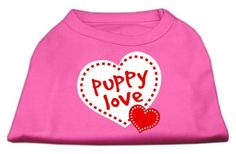 Mirage Pet Products Puppy Dog Clothing Apparel Oufit Costume Puppy Love Screen Print Shirt Bright Pink Large(14)