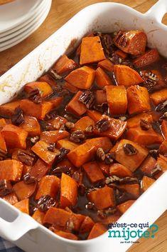 Patates douces confites #recette Candied Sweet Potatoes, Sweet Potato Pecan, Sweet Potato Recipes, Kraft Recipes, Vegetable Recipes, Vegetarian Recipes, Balsamic Dressing, Jus D'orange, 20 Min