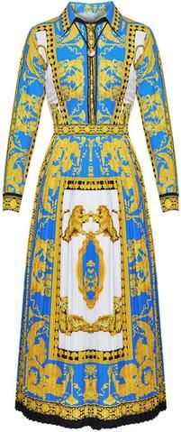 Baroque Printed Pleated Dress