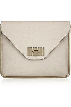 Chloé | Sally textured-leather envelope clutch | NET-A-PORTER.COM