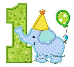 Birthday Elephant Number 1 Applique - 3 Sizes! | What's New | Machine Embroidery Designs | SWAKembroidery.com Dollar Applique