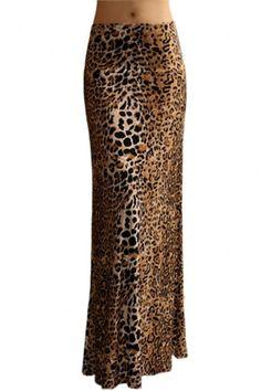 Animal Print Striped Full Length Banded Waist Foldover Maxi Skirt (Che – Niobe Clothing