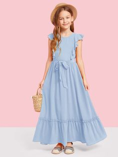 To find out about the Girls Ruffle Armhole Self Belted Dress at SHEIN, part of our latest Girls Dresses ready to shop online today! Kids Summer Dresses, Little Girl Dresses, Flower Girl Dresses, Dress Girl, Girls Dresses Online, Stylish Dresses For Girls, Girls Fashion Clothes, Kids Fashion, Fashion Dresses