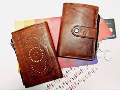 LOUIS leather womens wallet genuine leather vintage handmade boho button simple wallet continental ladies purse brown carved wallet by Astaboho on Etsy
