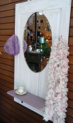 Upcycled Primitive Antique Wooden Door Wall Hanging Coat Rack, Hall Mirror, Bedroom Vanity, Lamp Shelf by TheRustyBucketVT on Etsy