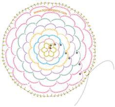 sujetador de cabello en crochet - diagrama - Filet à chignon
