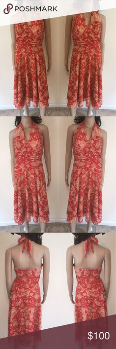 """🌺 NWOT Philip Decapri Halter Dress Great fit, with padded bodice, shaped waist with contrast trim. Invisible back zipper closure, fully lined.   Dry Clean Only  34"""" Bust  27"""" Waist  40"""" Hips  106"""" Sweep  39"""" Overall length  20"""" Skirt length Philip Decapri Dresses Midi"""