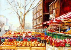 Quebec Art Print featuring the painting Marche Cote Des Neiges Market Scene Streets Of Montreal by Carole Spandau