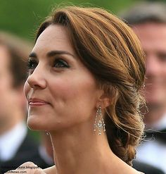 Duchess Kate: Kate Brings Back Favourite Jenny Packham Gown for A Taste of Norfolk at Houghton Hall. Love this hairstyle for a wedding someday Wedding Hair And Makeup, Bridal Hair, Hair Makeup, The Duchess, Duchess Of Cambridge, Jenny Packham, Updo Styles, Hair Styles, Houghton Hall