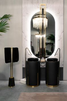 Shield is a oval mirror made entirely from mirror, polished brass and a Nero Marquina marble bar. Decorative yet practical, you will have a divine mirror just for you. Bathroom Trends, Modern Bathroom, Contemporary Interior, Modern Interior Design, Black And Gold Bathroom, Luxury Bar, Bathroom Design Inspiration, Luxury Furniture Brands, Oval Mirror