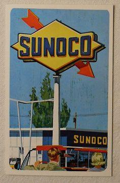 SUNOCO ROHM and HAAS 1964 PLEXIGLAS SIGN ADVERT CARDS
