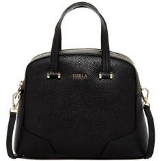 Furla MIchelle Leather Dome Handbag ($230) ❤ liked on Polyvore featuring bags, handbags, shoulder bags, bolsas, purses, accessories, onyx, leather handbags, dome satchel handbags and leather shoulder bag