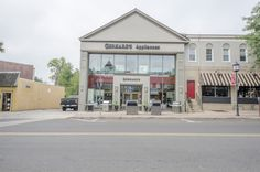 Gerhard's Appliances and Mattress in Glenside, PA. Front of store. Stainless steel grill on display. Sealy.