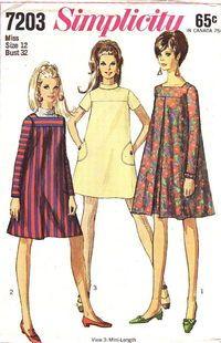 Simplicity Pattern 7203 Vintage Hip Mod Little Mini Tent Dress dated 1967. This…