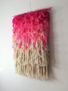 Woven wall hanging / Furry Electric Cherry Fields // by jujujust