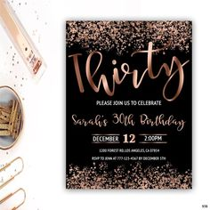 30th birthday invitation rose gold birthday invitation 30th birthday for her confetti invitation ⬇︎PLEASE READ BEFORE PURCHASING⬇︎ A note about rose gold foil: Rose gold foil used in invitations will not print as real rose gold foil. This is just a image to look like rose gold foil. 👉What is it?