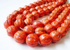 Orange Round Hand Carve Magnesite Pumpkin Shape by BijiBijoux, $6.75