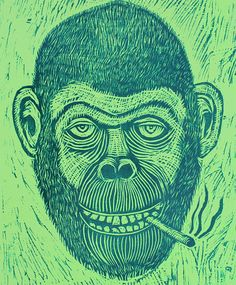 Cigarette Chimp Woodcut by seanstarwars on Etsy, $30.00