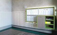 Rappel de la nature, contour en tuile de vinyl à motif de gazon et planchette effet bois au centre. Nouveau mobilier avec poubelle et surface de dépôt Tuile, Construction, Architecture, Decoration, Contour, Centre, Garage Doors, Commercial, Outdoor Decor