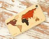 World Map Inlay iPhone 5 Wood Clear Case
