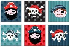Pirates Labels by Andover square in rows Fabric Panel Quilts, Fabric Panels, Pirate Quilt, Pirate Face, Mini Bunting, Andover Fabrics, Kinds Of Fabric, Pirate Party, Cushion Fabric