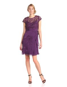 Adrianna Papell Women's Short-Sleeve Lace-Bodice with Flutter Dress at Amazon Women's Clothing store: Eggplant Dress