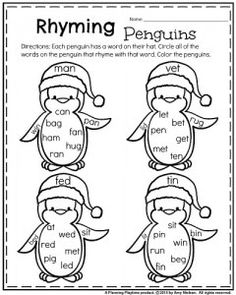Kindergarten worksheets for January - Rhyming words penguins. Circle the words that rhyme with the word on their hat.