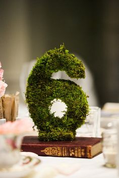 Moss table numbers for an event. | via Style Me Pretty, photo by http://abritandablonde.com/