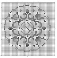 Round 01 | Free chart for cross-stitch, filet crochet | gancedo.eu