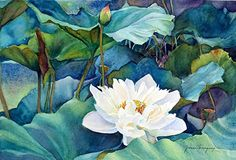 "White Lotus by Yvonne Hemingway Watercolor ~ 13"" x 17"""